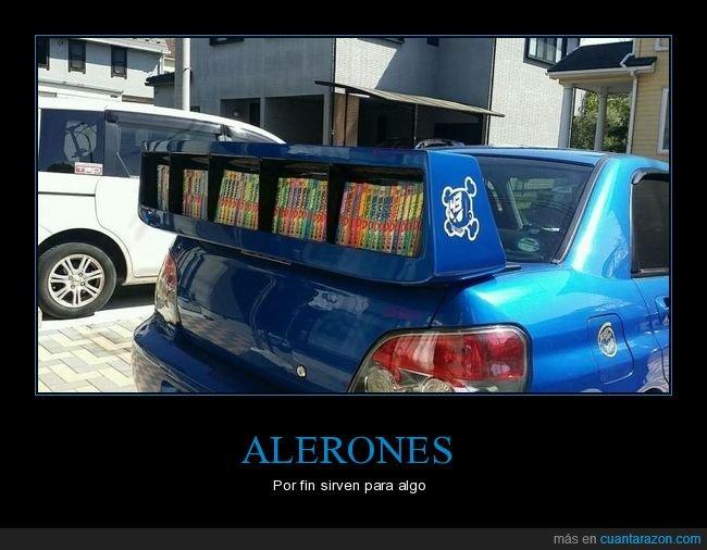 alerón,coche,libros