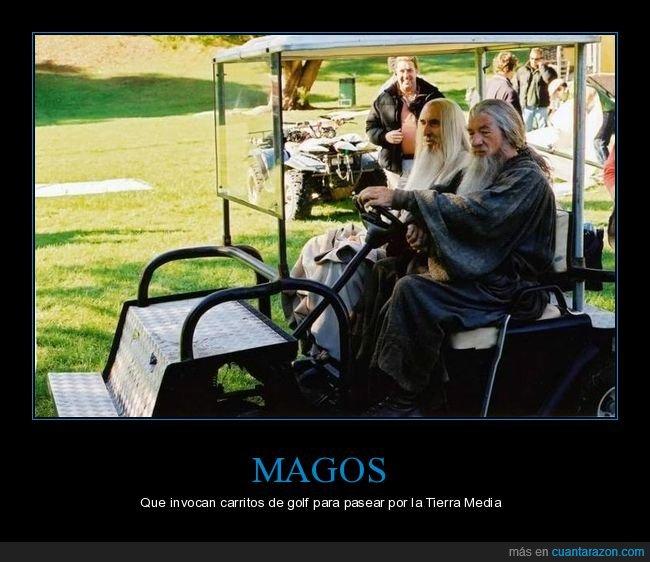 carrito de golf,el señor de los anillos,gandalf,saruman