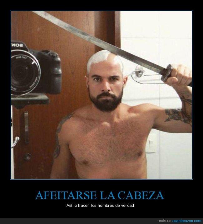 afeitarse,cabeza,espada