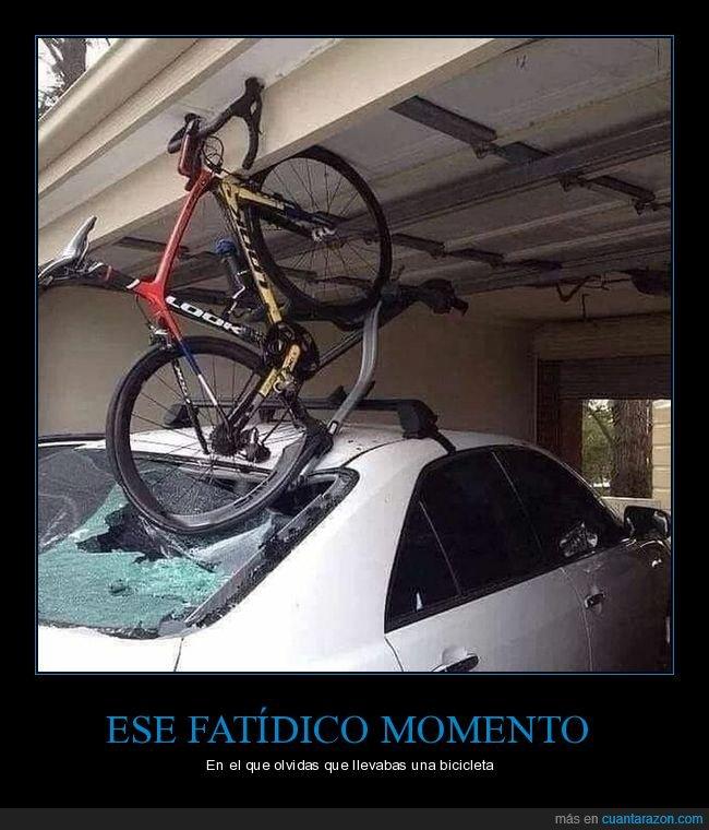bicicleta,coche,fails,garaje