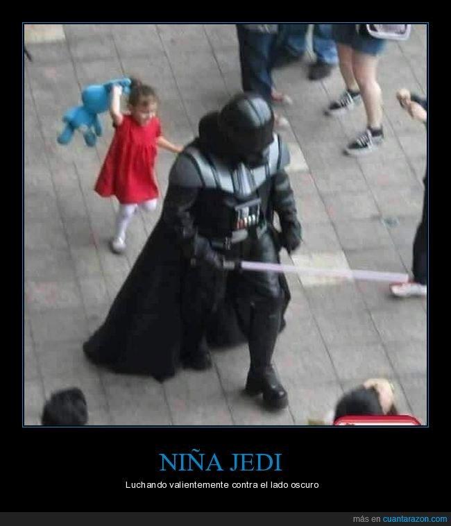 darth vader,niña,pegando,star wars