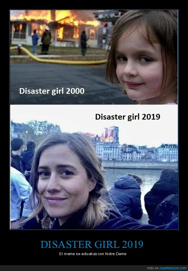 disaster girl,fuego,incendio,notre dame