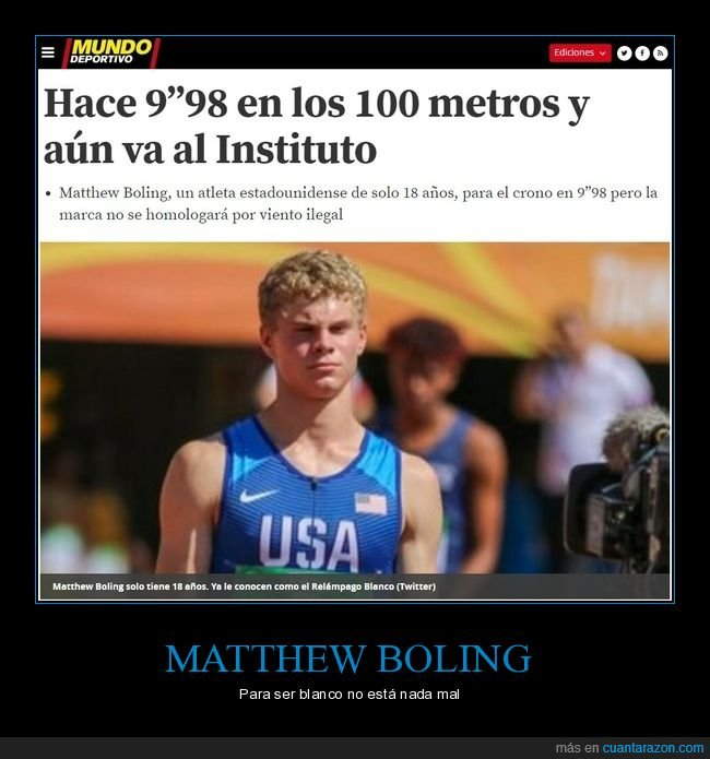 atletismo,blanco,matthew boling,record,velocidad