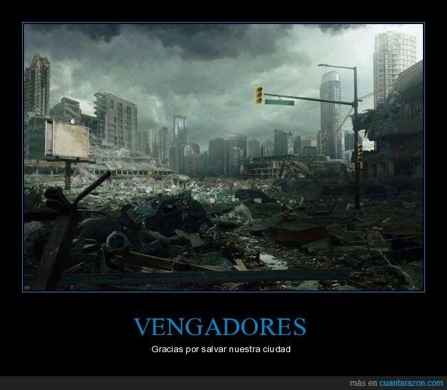 ciudad,desastre,destrozo,ironia,vengadores
