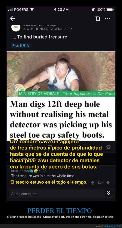 agujero,bota,cavar,detector de metales,fails,punta de acero