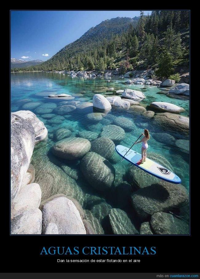 agua,cristalina,lago,paddle surf,paisaje