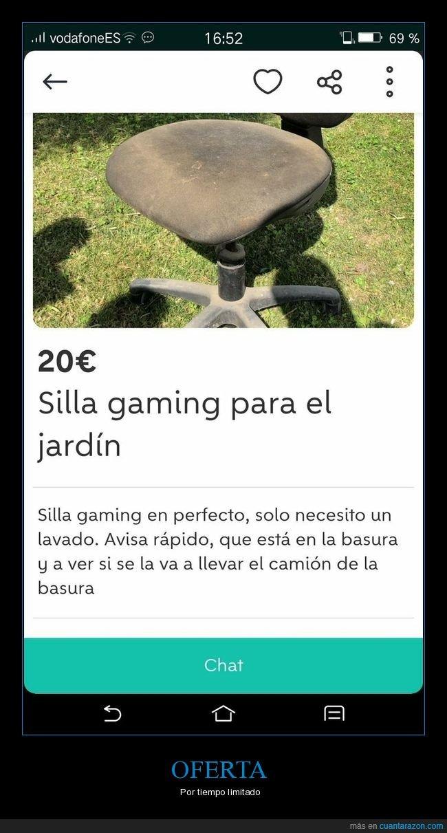 anuncio,basura,gaming,silla,wallapop