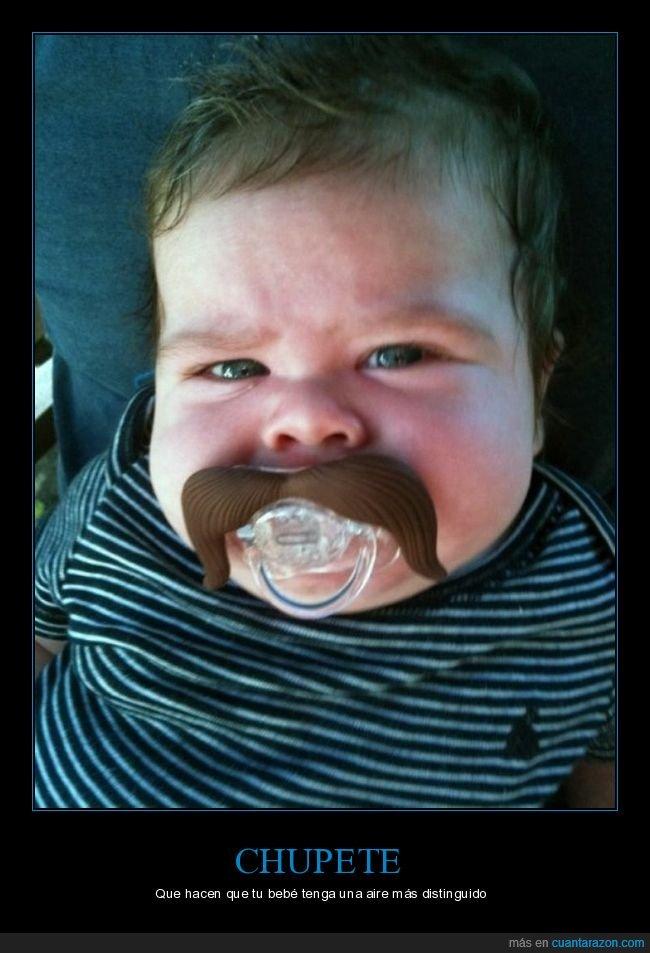 bebé,bigote,chupete