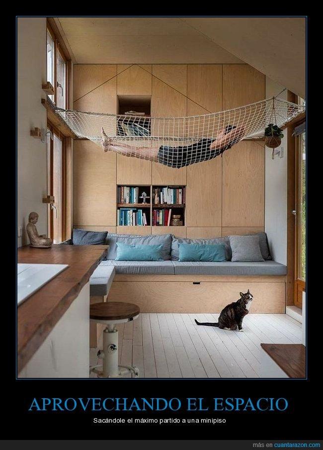 aprovechando,espacio,hamaca,piso