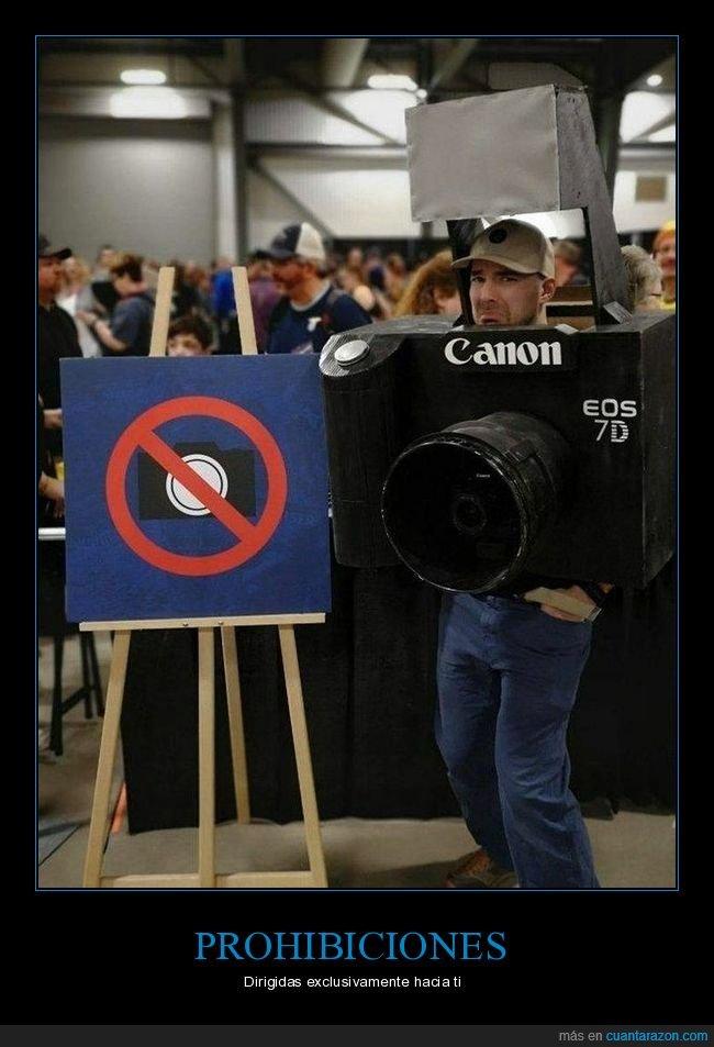 cámara,disfraz,prohibición