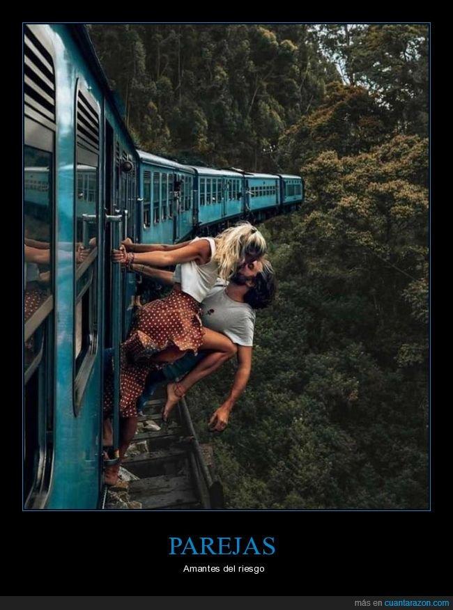 pareja,riesgo,tren