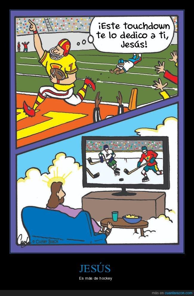dedicar,fútbol americano,hockey,jesús,touchdown