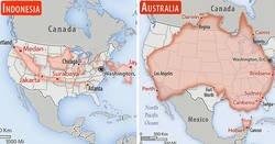 Enlace a países comparados con Estados Unidos en una perspectiva a escala real