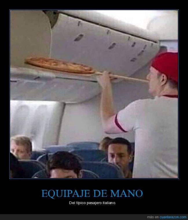 absurdo,avión,equipaje de mano,pizza
