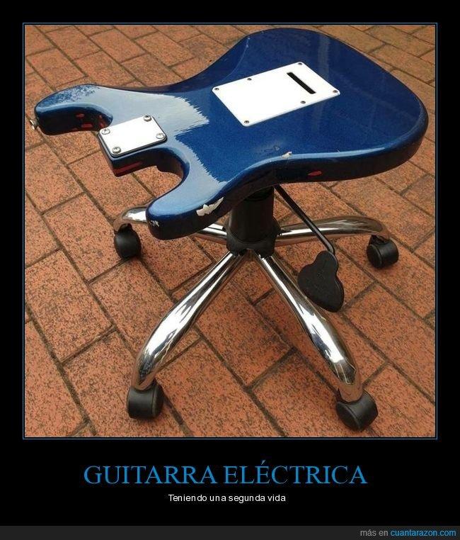 guitarra eléctrica,reciclaje,silla