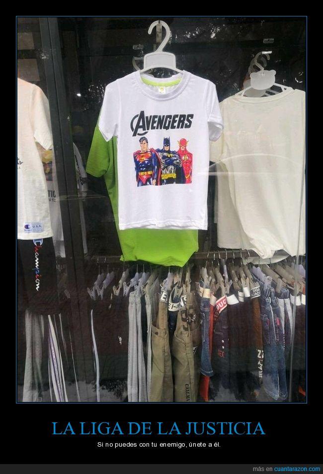 camiseta,fails,la liga de la justicia,los vengadores