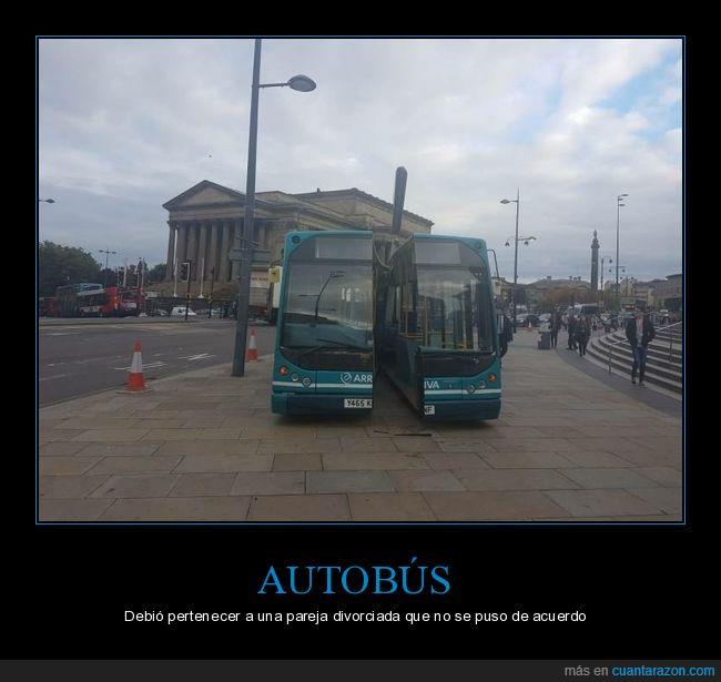 autobús,cortado,mitad