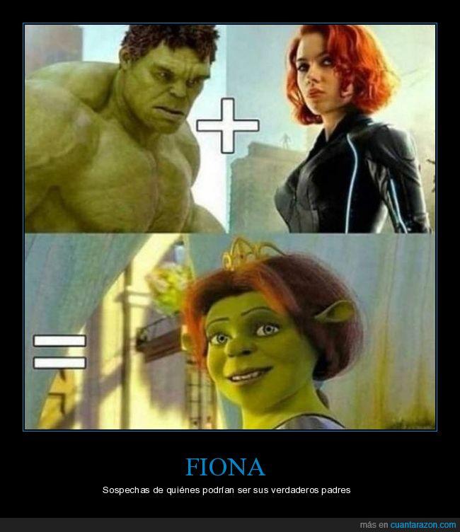 fiona,hulk,shrek,viuda negra