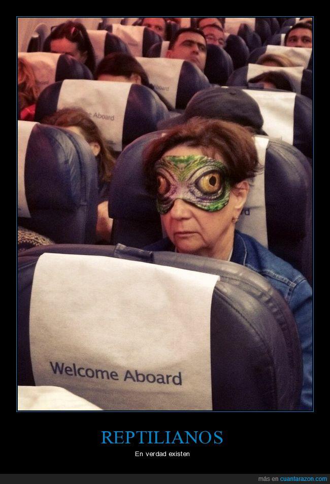 antifaz,avión,reptilianos,señora