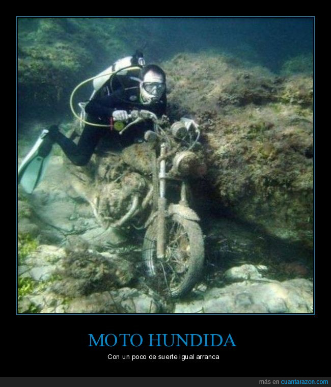 buceador,fondo del mar,hundida,moto