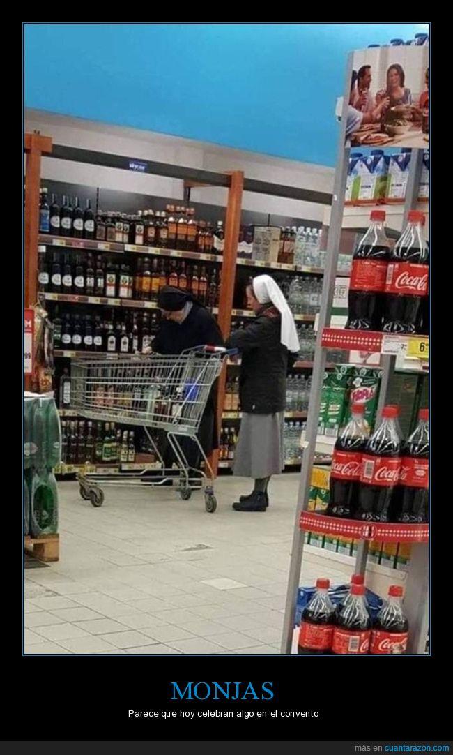 alcohol,comprando,monjas,supermercado