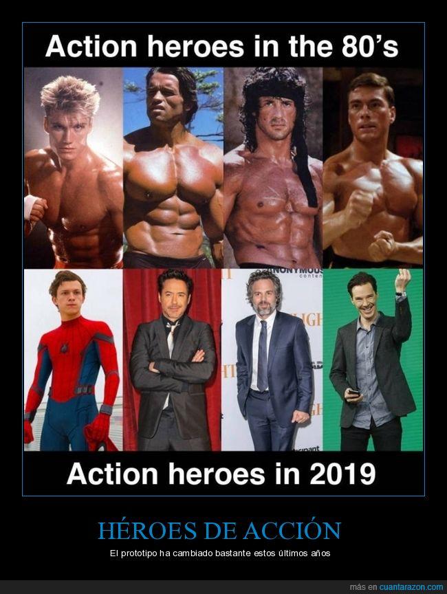 2019,ahora,años 80,antes,héroes de acción