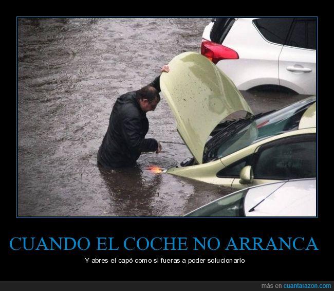 capó,coche,inundación,wtf