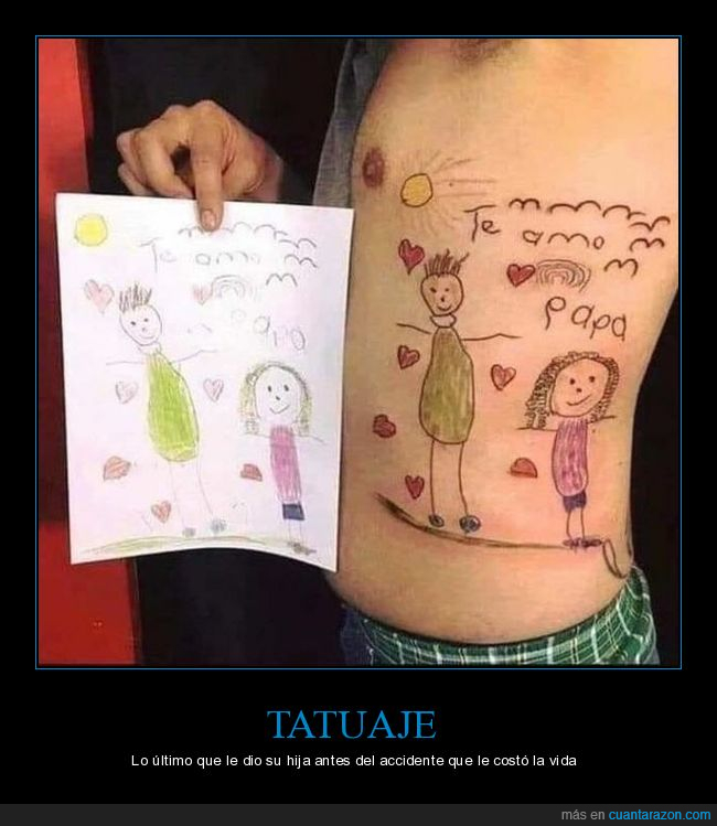 accidente,dibujo,hija,tatuaje