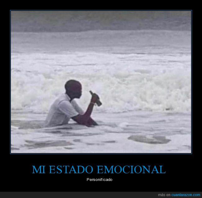 bebiendo,estado emocional,persona,playa