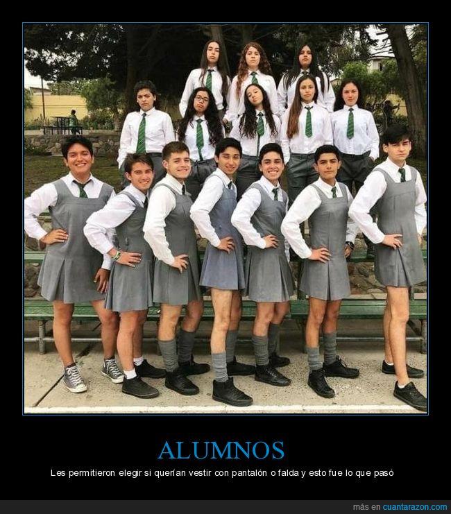 alumnos,colegio,falda,pantalón,uniforme,vestir