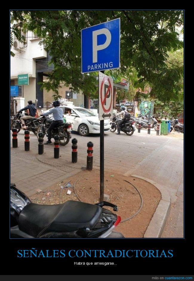 aparcar,contradicción,prohibición,señales