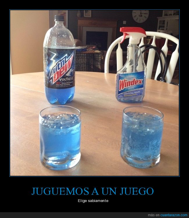 azul,limpiacristales,mountain dew,vasos