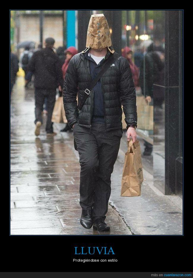 bolsa,cabeza,lluvia