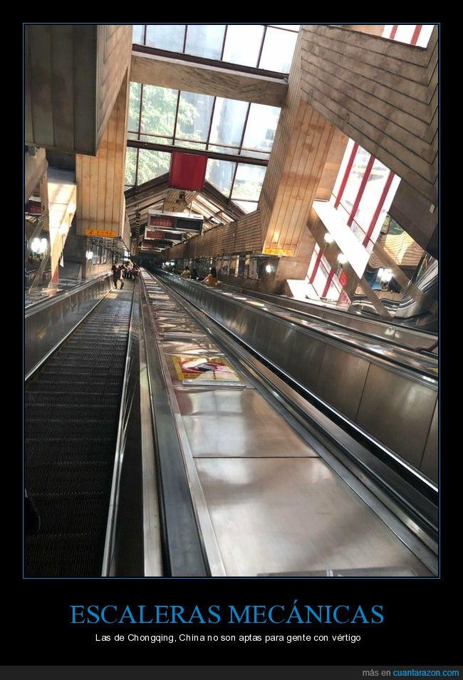 chongqing,escaleras mecánicas,largas,vértigo