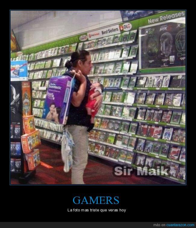 hijo,padre,pañales,videojuegos