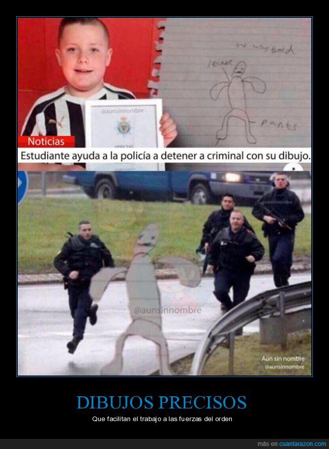 ayudar,criminal,detener,dibujo,estudiante,niño,policía