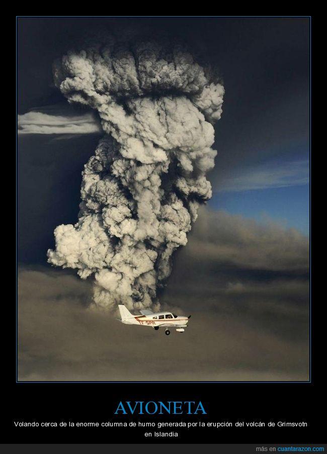 avioneta,grimsvotn,volcán