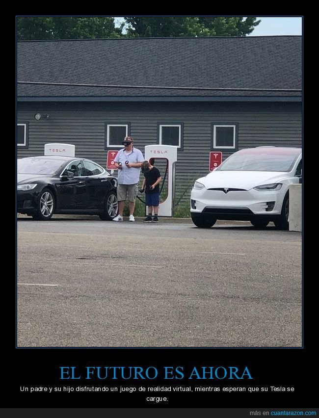 cargar,coche,eléctrico,hijo,padre,realidad virtual,tesla