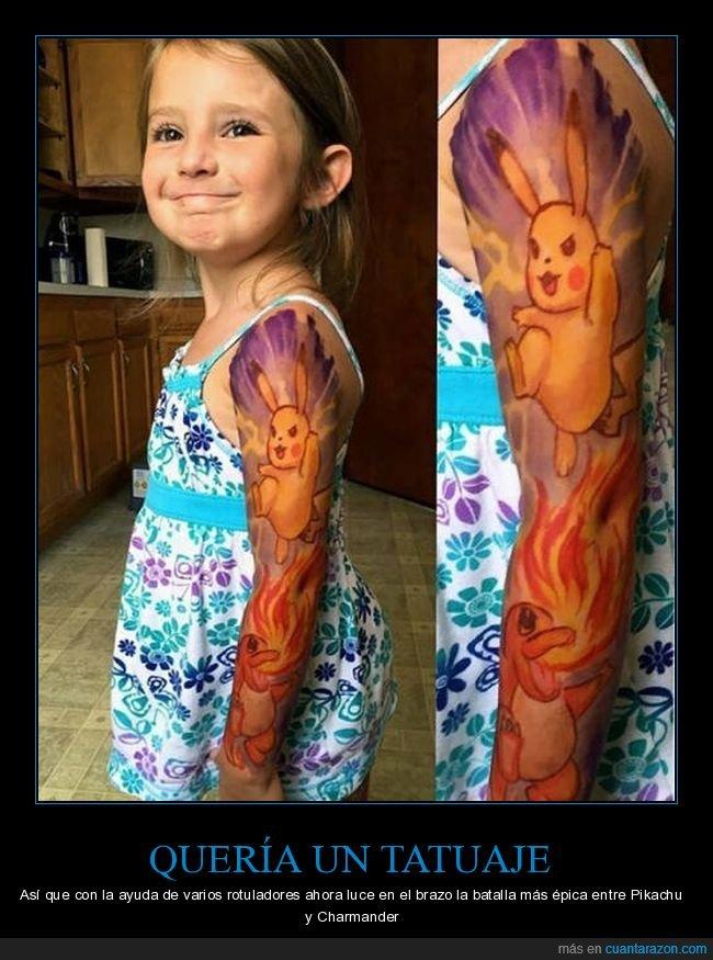 charmander,niña,pikachu,pokemon,rotuladores,tatuaje