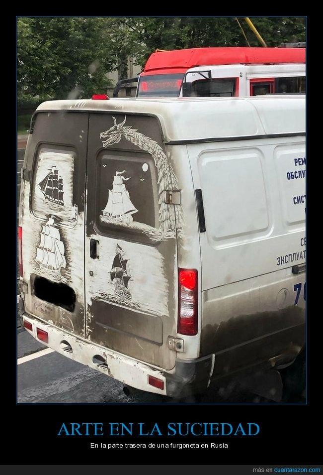 arte,furgoneta,suciedad