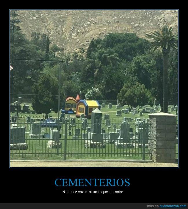 castillo hinchable,cementerio,wtf