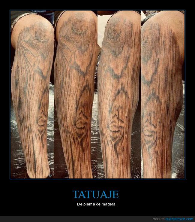madera,pierna,tatuaje