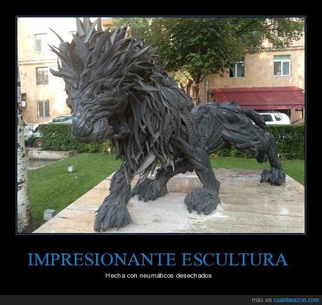 escultura,león,neumáticos