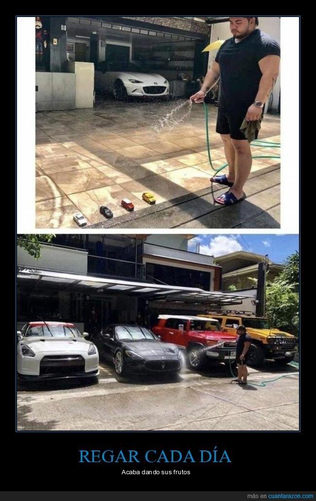 coches,juguetes,regando