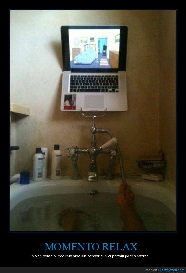 bañera,ordenador,relax,wtf