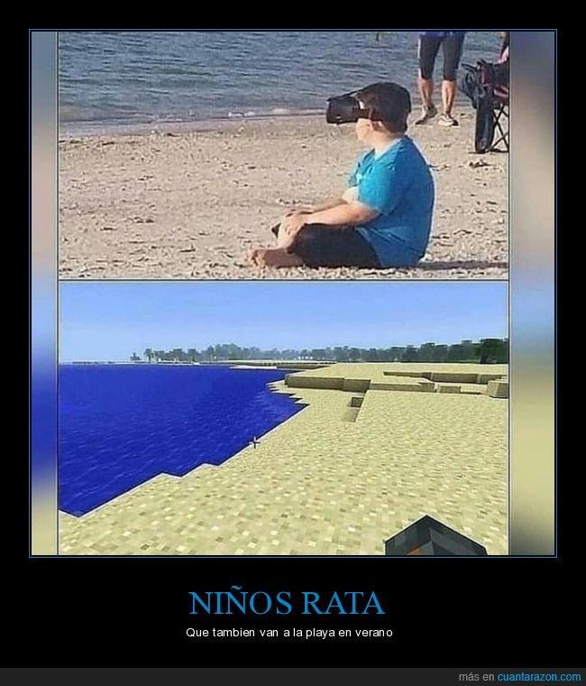 minecraft,niño,playa,realidad virtual