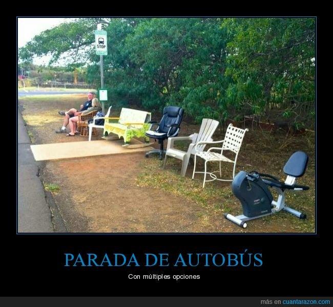 opciones,parada de autobús,sillas
