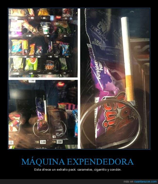 caramelos,cigarrillo,condón,máquina expendedora