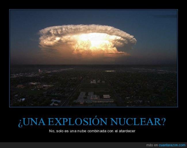 atardecer,explosión nuclear,nube