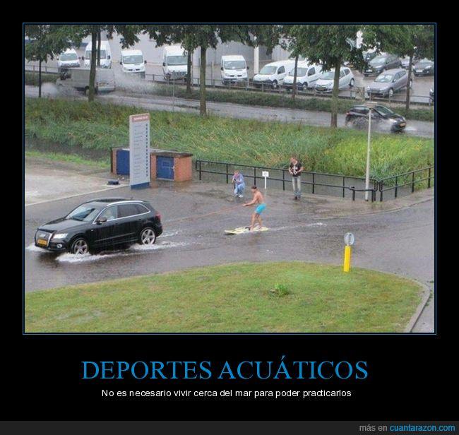 coche,deportes acuáticos,inundación,tabla,wtf